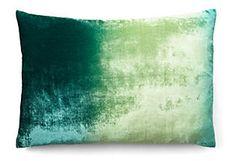 Kevin O'Brien velvet Ombre 14x20 Pillow, Teal/Citron.