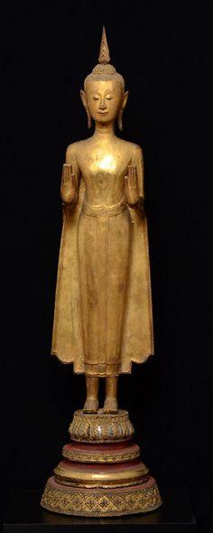 Rare & Large Thai Bronze Standing Buddha (item #1086081, detailed views)