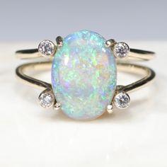 Natural Australian Crystal Opal and Diamond Gold Ring - Size 8 GR738 10k Gold Ring, Gold Diamond Rings, Gold Rings, Opal Color, Green Opal, Australian Opal, Opal Jewelry, Natural Crystals, Natural Diamonds