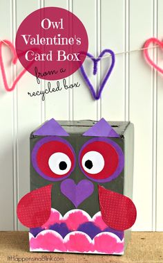Owl Valentine's Day Card Box {from a recycled box}  |  #ad #plaidcrafts |  Use a regular cardboard box to create a funky owl Valentine's Day Card Box