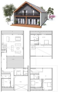 Contemporary Home to narrow lot. Four bedrooms, two living areas, garage. Narrow House Plans, Barn House Plans, Country House Plans, New House Plans, Dream House Plans, Modern House Plans, House Floor Plans, Pole Barn Homes Plans, Warren House