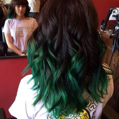 Brown to green ombre hair