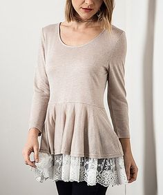 Another great find on #zulily! Tan Lace-Panel Peplum Tunic by Elegant Apparel #zulilyfinds