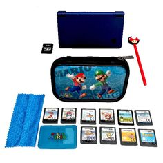 nintendo dsi console bundle Pearl Blue Mario Case 10 Great Games Mushroom Stylus Console, Nintendo Dsi, Case, Computers, Zip Around Wallet, Ebay, Consoles