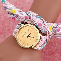 Women #Wrist #Watch, Grosgrain Ribbon, with zinc alloy dial & Glass, plated, for woman & with round spot pattern & 2-strand, more colors for choice, http://www.beads.us/product/Women-Wrist-Watch_p263965.html?Utm_rid=219754