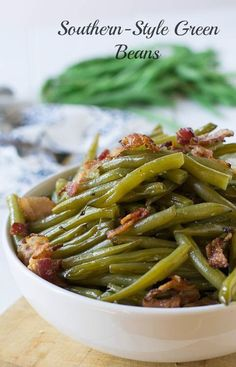Southern-Style Green Beans cooked low and slow until melt in your mouth tender.
