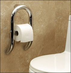 Toilet Roll Holder is a Grab Bar. Make sure to anchor mount it for your weight!  #AginingInPlace.  #AccessibleToilet.