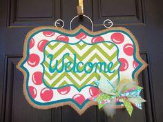 spring welcome burlap door hanger. $30.00, via Etsy.