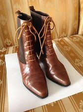 Vintage 90's,LEATHER VICTORIAN LACE UP BOOTS, Elastic Combo, Heel, Chestnut 6.5M