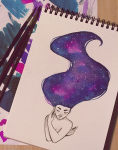 "Raquel Travé Illustration — 30/31 inktober ""Galaxy Hair"""