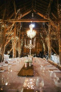 The beams have branches and then lights wrapped around them. Love love love.