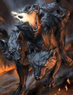 Artist: Unknown - Title: Unknown - Card: Hellfire Cerberus