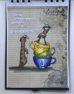 Hello everyone, For today's Katzelkraft post I have made an AJ page. I have used the Meerkat stamps today; Crazy Bird, Art Journal Pages, Art Journals, Tag Design, Animal Cards, Small Art, My Coffee, Pattern Paper, Clipart
