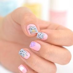 Meow! Combine Pusheen nails and a cat ear hairstyle for a perfect kawaii look! ❤️ Repost from @yokonailart! #kawaiibox #kawaii #pusheen #nailart