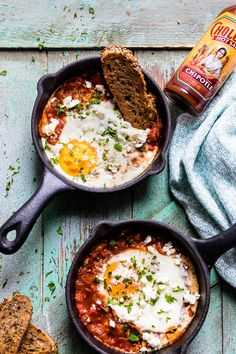 Spicy Turkish Style Baked Eggs (Shakshuka) healthy, easy, spicy baked egg dish with tomatoes and feta. Perfect for breakfast, brunch or weeknight dinners. This dish is perfect made for one in a skillet, or for the whole table in a larger pan. Egg Recipes, Brunch Recipes, Breakfast Recipes, Cooking Recipes, Breakfast Ideas With Eggs, Egg Dinner Recipes, Healthy Egg Breakfast, Breakfast Sandwiches, Breakfast Pizza