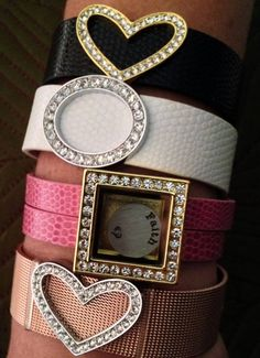 Mesh and Leather Bracelets with slider charms from Our Hearts Desire.   www.ourheartsdesire.com/jeweledtreasures