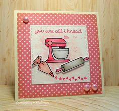 """You're all I knead ... :) For the @lawnscaping FIT blog hop: color of the month: """"PINK""""! @lawnfawn stamps and patterned papers getinspiredandbecreative"""
