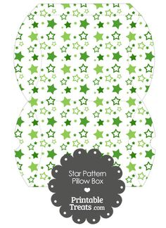 Large Green Star Pattern Pillow Box from PrintableTreats.com