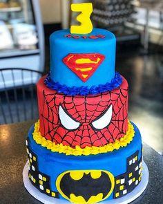 3 tier superhero cake for a 3 year old! #swirlygirlsbakery #superherocake #batman #superman #spiderman