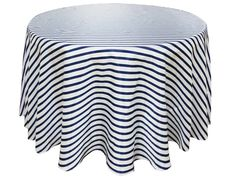 """Ever Lovable Stripes Table Cloth 120"""" Round - White / Navy 