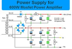 This is the circuit diagram of MOSFET power amplifier. The circuit will give you more than 600 Watt audio output for speakers with impedance of 4 Ohm. Power Supply Circuit, Speaker Plans, Picture Wire, Circuit Design, Circuit Diagram, Audio Amplifier, Electronics Projects, How To Plan, Electronic Circuit