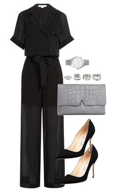 A fashion look from January 2016 featuring jump suit, Manolo Blahnik and man bag. Cute Casual Outfits, Stylish Outfits, Elegantes Business Outfit, Looks Party, Work Fashion, Fashion Women, Women's Fashion, Kpop Fashion Outfits, Business Outfits