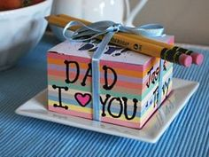 Toddler Activities: Personalize a Note Cube for Fathers Day, Mothers Day or Any Special Occasion Kids Crafts, Craft Activities For Toddlers, Father's Day Activities, Toddler Crafts, Diy Gifts For Kids, Great Father's Day Gifts, Craft Gifts, Fathers Day Poems, Fathers Day Crafts