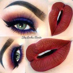 Lips @limecrimemakeup Velvetine in Salem  Eyes: My current fave palette @anastasiabeverlyhills #Amrezy Palette shades Iridescent purple, plum, caramel