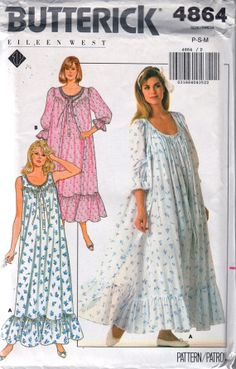 Butterick 4864 1980s  Misses Flared Ruffled  Nightgown and Robe in Two Lengths Designer Eileen West womens vintage sewing pattern by mbchills
