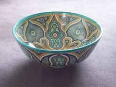 Moroccan Ceramic Bowl.....Lovely Turquoise Pattern....
