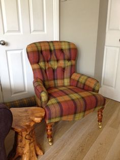 Traditional button back bespoke chair in Art of the Loom wool (fruit salad) Wingback Chair, Sofa Bed, Bespoke Sofas, Cushion Filling, Fruit Salad, Loom, Cribs, Accent Chairs, British