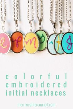 Initial Jewelry Gifts for Teen Girls. Personalized Necklace. Hand Embroidery. Initial Pendant. Colorful Monogram Necklace. Gifts for Her.