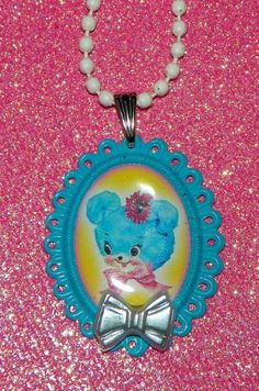 Blue Kitsch Teddy Bear Cameo Necklace by Pinkspiderwebs on Etsy