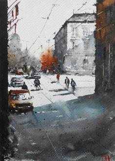 """Duncan Halleck: """"Place Royale II"""" 28x38cm April, 2016 Available"""