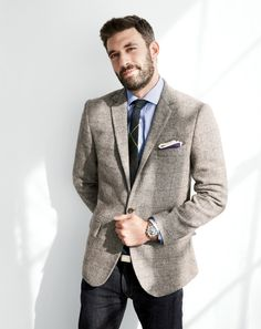 J.Crew Ludlow sportcoat in windowpane English wool and the English wool in night shadow plaid tie.