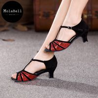 3colors   profusion  beauty Adult  Mid Heel Latin Modern Dance Shoes Women's Ballroom Dancing  Soft Comfortable 34-43size