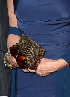 Deidre Hall: Alligator clutch + chunky teal bangle + big ol' sunglasses = a winner.