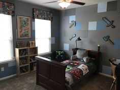 Explore the designs of Minecraft Bedroom Ideas at The Architecture Designs. Visit for more ideas of Minecraft themed bedroom ideas. Gamer Bedroom, Room Ideas Bedroom, Bedroom Themes, Bedroom Colors, Kids Bedroom, Bedroom Decor, Bedroom Designs, Boys Minecraft Bedroom, Minecraft Room Decor