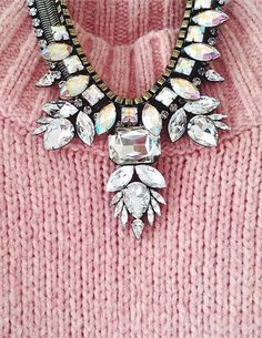 sparkling necklaces + sweaters