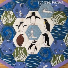 Penguin hexie mini patchwork quilt wall hanging made using original fabrics from Sea Parrot. Available from my online shop. Penguin Art, Patchwork Fabric, Quilted Wall Hangings, Penguins, Parrot, Fabric Design, Fabrics, Kids Rugs, Sea
