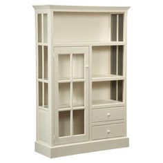 Country white cabinet with three shelves, a glass door, and two drawers. Made in the USA. $1426