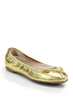 Marc by Marc Jacobs Mouse Metallic Leather Ballet Flats