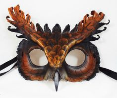 Tawny Screech Owl Leather Mask by LibertiniArts on Etsy Owl Mask, Bird Masks, Play Poster, Steampunk Mask, Screech Owl, Great Horned Owl, Hand Molding, Feather Crafts, Leather Mask