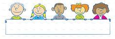 Children with banner stock vector art 63423337 - iStock