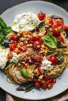 Pasta Recipes, Vegan Recipes, Dinner Recipes, Cooking Recipes, Dinner Ideas, Summer Vegetarian Recipes, Chicken Recipes, Going Vegetarian, Vegetarian Breakfast