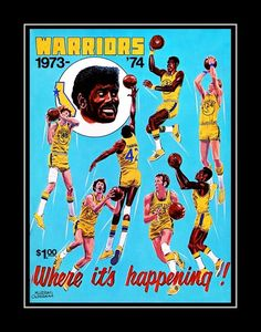The art on this 1973 Golden State Warriors Poster has been custom produced by Vintage Brand. This program was distributed in 1973 for the Golden State Warriors. Lacrosse, Hockey, Posters Diy, Poster Ideas, Basketball Decorations, Basket Nike, Basketball Posters, Ball Hairstyles, Workouts For Teens