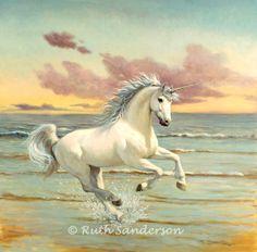 """Unicorn Shores"" by Ruth Sanderson - OIl on board"