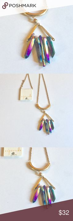 Iridescent Three Stone Necklace Three stone iridescent with gold chain necklace. New Jewelry Necklaces