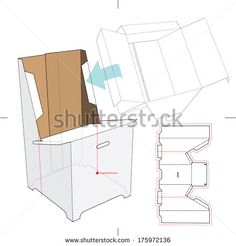 Base Stand for Display Boxes with Blueprint Layout - stock vector