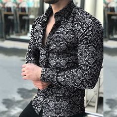 Cheap Mens Shirts, Mens Shirts Online, Chemise Fashion, Mode Plus, Black M, Floral Print Shirt, Spring Shirts, Sports Shirts, Sports Tops